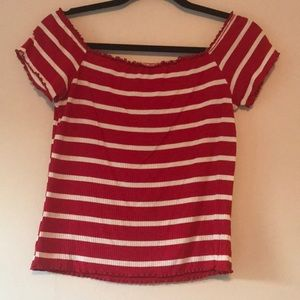Red & White Striped Off The Shoulder Tee
